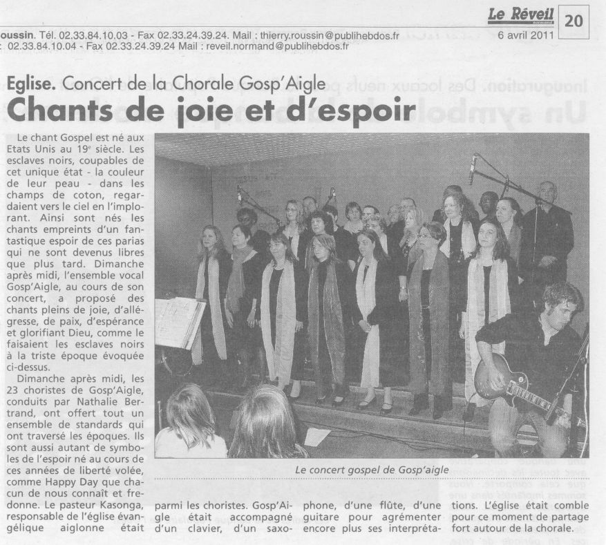 Article chorale 06.04.2011
